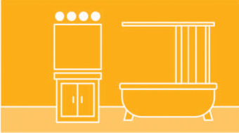 bathroom with glove bulbs illustration