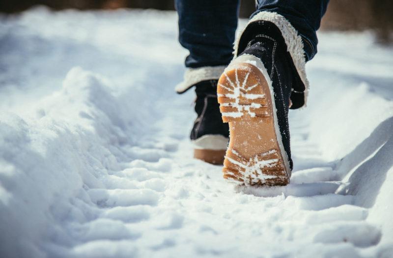 feet walking through snow