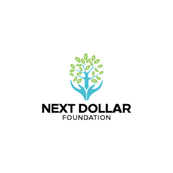 Next Dollar Foundation, Hand holding tree with money leaves illustration