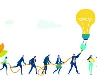 people plugging in big lightbulb illustration
