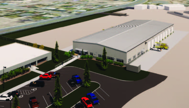 A digital rendering of an aerial view of the front of WREC's planned operations center