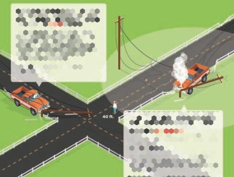Illustration of Car Crashing Into Utility Pole