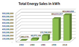 Total energy sales in kWh